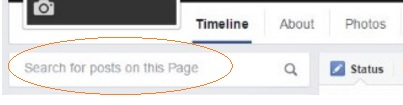 Image of an example of a Facebook timeline with the option to Search for posts on this page