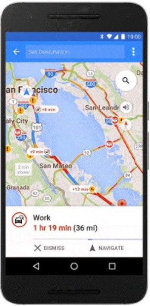 Image of a Google Map with information on the distance to place of Work and the length of time needed to get there.