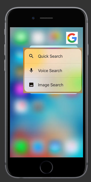 Image of an iPhone home screen showing shortcuts of Google search features – Quick Search, Voice Search, and Image Search