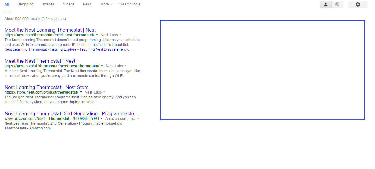 A screenshot showing Google SERPS results for the search query 'Nest thermostats'.