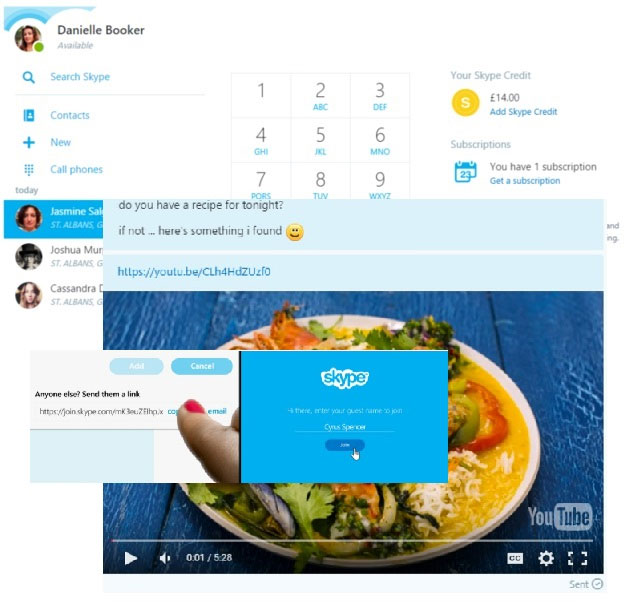 A collage of all the new features of Skype for the Web – dial mobile phones, watch YouTube video and invite non-Skype users