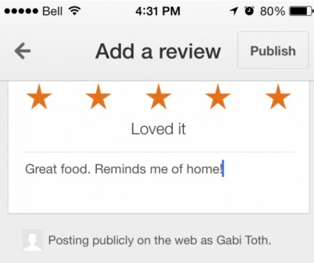 Example of star rating and review left on mobile