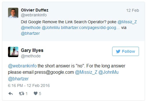 Screenshot on Twitter response of Gary Illyes on the speculation on Google's removal of link search operator.