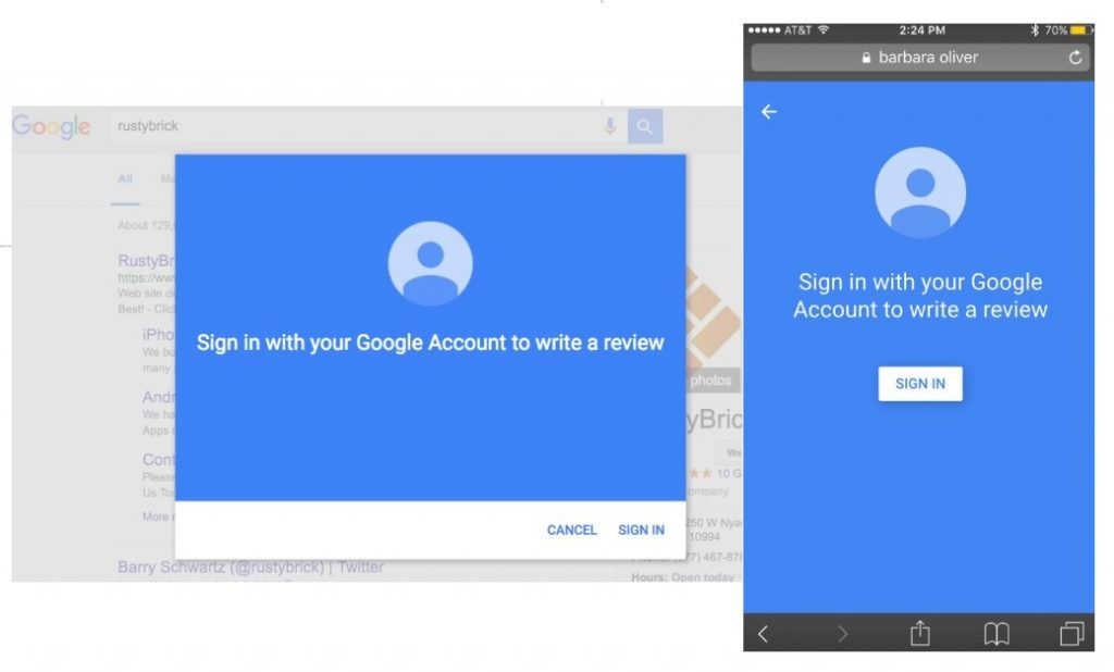 google review interface