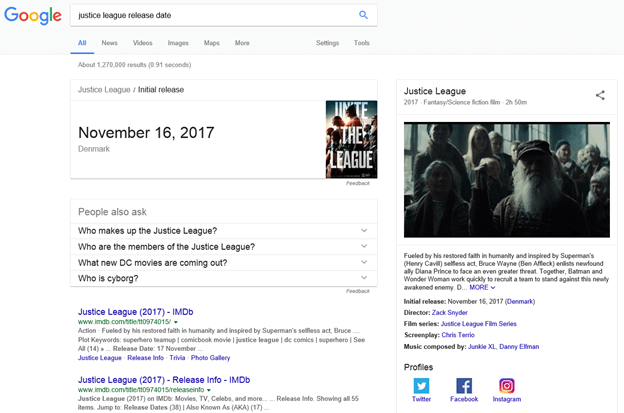movie justice league in google serps