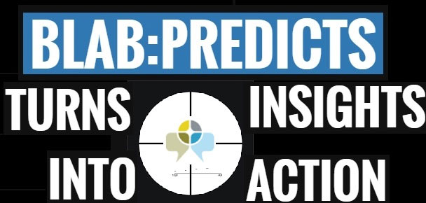 Image with text Blab:Predicts Turns Insights into Action with targeting lens in the middle pointing to BlabPredict's logo