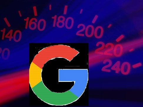 Image of Google's G with a speedometer in the background