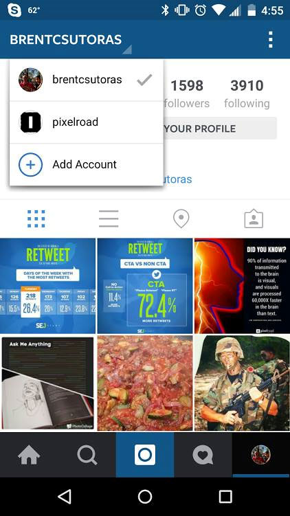 Screenshot of Instagram app with multi-account activated