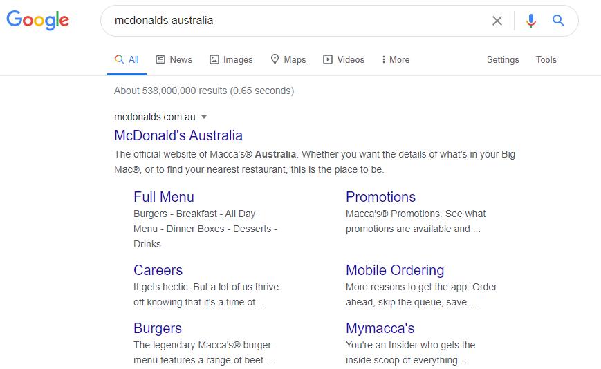 serp mcdonalds australia